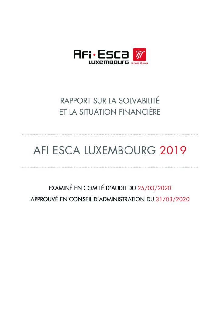 Rapport sur la solvabilité et la situation financière 2019