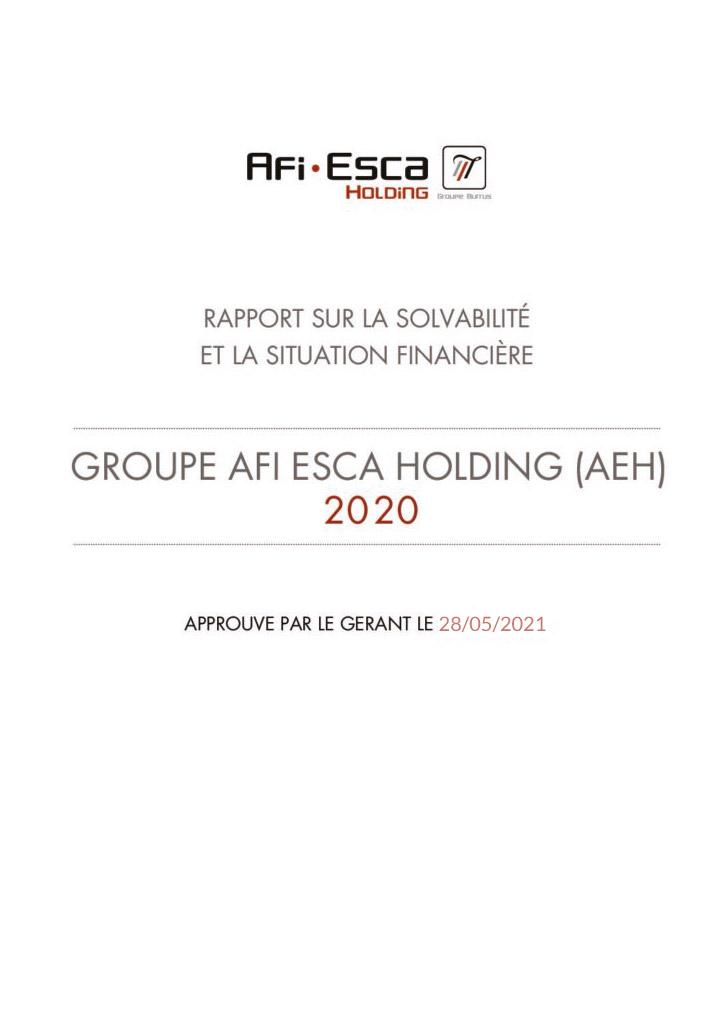 Rapport sur la solvabilité et la situation financière du Groupe Consolide 2020